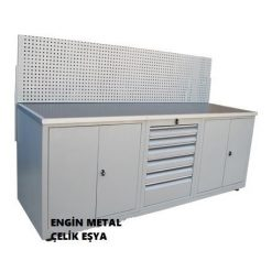 dolaplı metal çalışma tezgahı